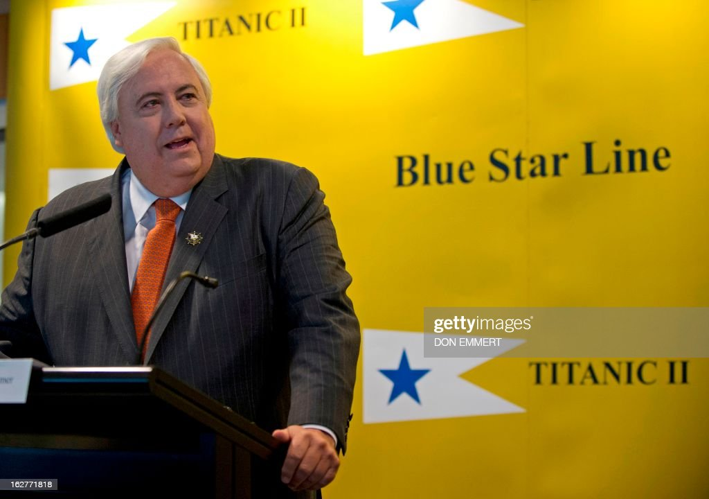 Australian tycoon Clive Palmer talks about his plan for building a perfect replica of the Titanic at a news conference February 26, 2013 in New York. More than a century after the original, supposedly unsinkable ocean liner hit an iceberg and went down in the North Atlantic, Palmer says he thinks the time has come to complete the unfinished journey to New York.'The Titanic was the ship of dreams. Titanic II is the ship where dreams will come true,' Palmer said in New York at the project's official launch. AFP PHOTO/DON EMMERT