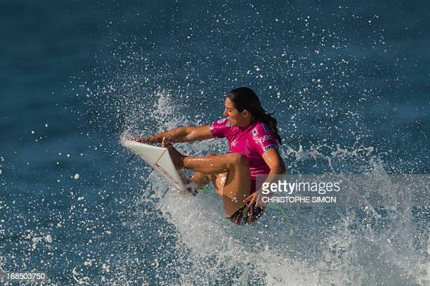 Australian Tyler Wright surfs during the first day of the ASP women world tour Billabong Rio Pro 2013 at Barra de Tijuca beach in Rio de Janeiro...