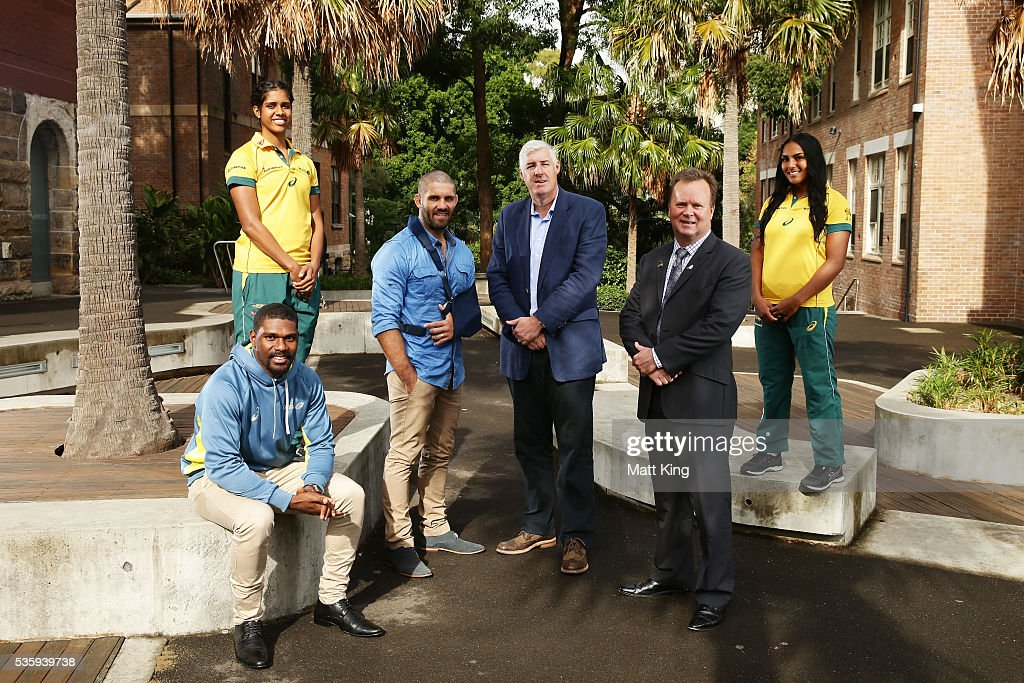 Australian U20s representative Moses Sorovi, Australian Womens Sevens player Taleena Simon, Wallabies player Matt Hodgson, ARU Chairman Cameron Clyne, ARU CEO Bill Pulver and Australian Womens Sevens player Mahalia Murphy pose during the ARU Reconciliation Action Plan Launch at the National Centre for Indigenous Excellence on May 31, 2016 in Sydney, Australia.
