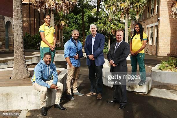 Australian U20s representative Moses Sorovi Australian Womens Sevens player Taleena Simon Wallabies player Matt Hodgson ARU Chairman Cameron Clyne...