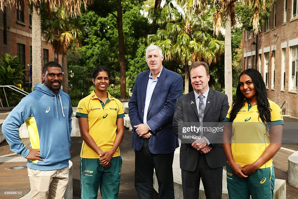 Australian U20s representative Moses Sorovi, Australian Womens Sevens player Taleena Simon, ARU Chairman Cameron Clyne, ARU CEO Bill Pulver and Australian Womens Sevens player Mahalia Murphy pose during the ARU Reconciliation Action Plan Launch at the National Centre for Indigenous Excellence on May 31, 2016 in Sydney, Australia.