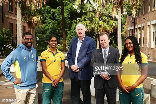 Australian U20s representative Moses Sorovi Australian Womens Sevens player Taleena Simon ARU Chairman Cameron Clyne ARU CEO Bill Pulver and...