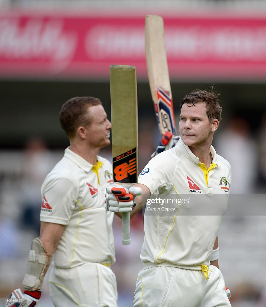 Australian unbeaten batsmen <a gi-track='captionPersonalityLinkClicked' href=/galleries/search?phrase=Chris+Rogers+-+Cricket+Player&family=editorial&specificpeople=178255 ng-click='$event.stopPropagation()'>Chris Rogers</a> and Steven Smith of Australia leave the field at the end of day one of the 2nd Investec Ashes Test match between England and Australia at Lord's Cricket Ground on July 16, 2015 in London, United Kingdom.