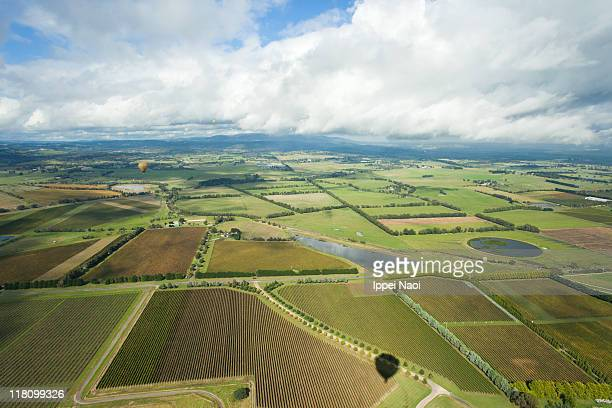 Australian vineyards from above, Yarra Valley