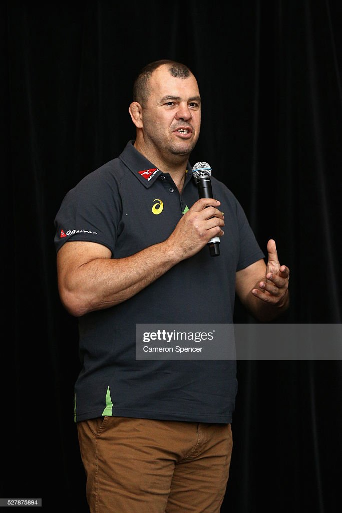 Australian Wallabies coach Michael Cheika talks during the Australian Wallabies jersey launch at All Sorts Sports Factory on May 4, 2016 in Sydney, Australia.