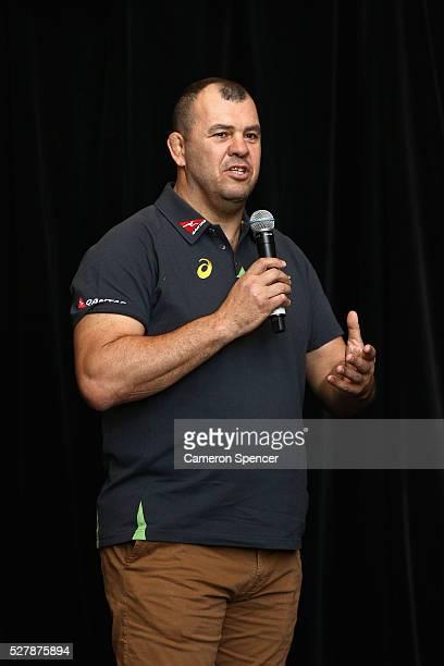 Australian Wallabies coach Michael Cheika talks during the Australian Wallabies jersey launch at All Sorts Sports Factory on May 4 2016 in Sydney...
