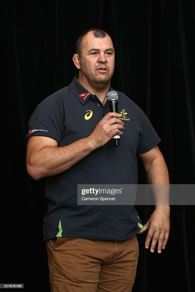 Australian Wallabies coach <a gi-track='captionPersonalityLinkClicked' href=/galleries/search?phrase=Michael+Cheika&family=editorial&specificpeople=710004 ng-click='$event.stopPropagation()'>Michael Cheika</a> talks during the Australian Wallabies jersey launch at All Sorts Sports Factory on May 4, 2016 in Sydney, Australia.