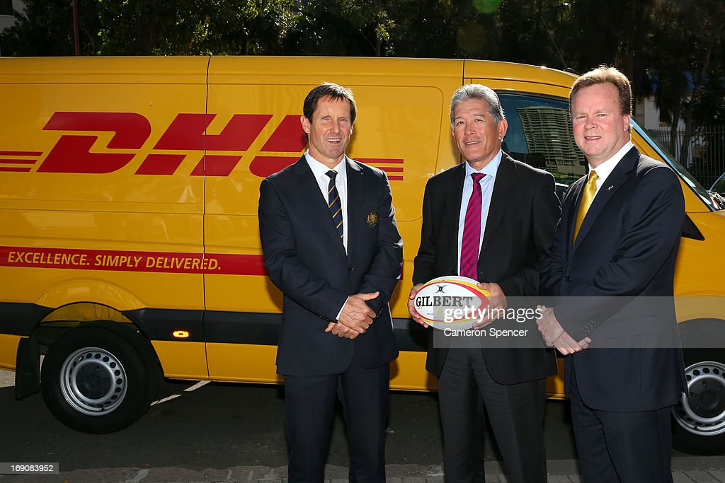 Australian Wallabies head coach Robbie Deans, DHL Senior Vice President for Oceania Gary Edstein and Australian Rugby CEO Bill Pulver pose following an Australian Wallabies ARU press conference on May 19, 2013 in Sydney, Australia.