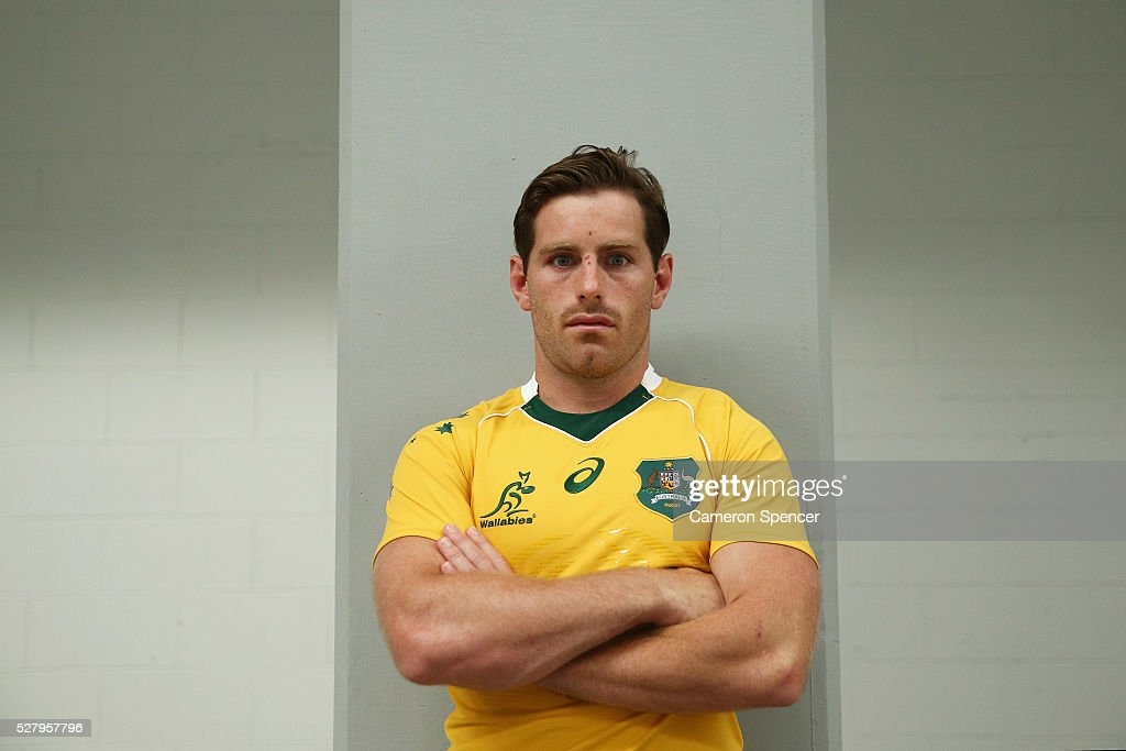 Australian Wallabies player <a gi-track='captionPersonalityLinkClicked' href=/galleries/search?phrase=Bernard+Foley&family=editorial&specificpeople=6563906 ng-click='$event.stopPropagation()'>Bernard Foley</a> poses during the Australian Wallabies jersey launch at All Sorts Sports Factory on May 4, 2016 in Sydney, Australia.