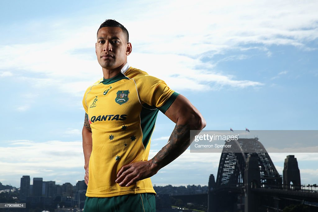 Australian Wallabies player <a gi-track='captionPersonalityLinkClicked' href=/galleries/search?phrase=Israel+Folau&family=editorial&specificpeople=4194699 ng-click='$event.stopPropagation()'>Israel Folau</a> poses during a portrait session on July 1, 2015 in Sydney, Australia. Folau has continued his commitment to Australian Rugby signing a three-year deal.