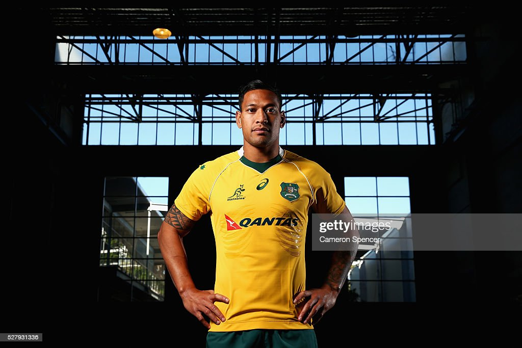 Australian Wallabies player <a gi-track='captionPersonalityLinkClicked' href=/galleries/search?phrase=Israel+Folau&family=editorial&specificpeople=4194699 ng-click='$event.stopPropagation()'>Israel Folau</a> poses during the Australian Wallabies jersey launch at All Sorts Sports Factory on May 4, 2016 in Sydney, Australia.