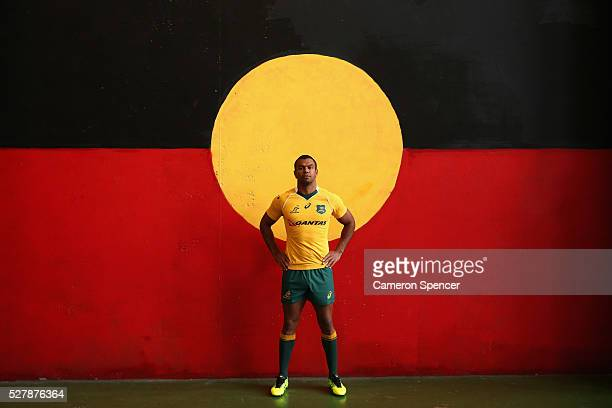 Australian Wallabies player Kurtley Beale poses during the Australian Wallabies jersey launch at All Sorts Sports Factory on May 4 2016 in Sydney...