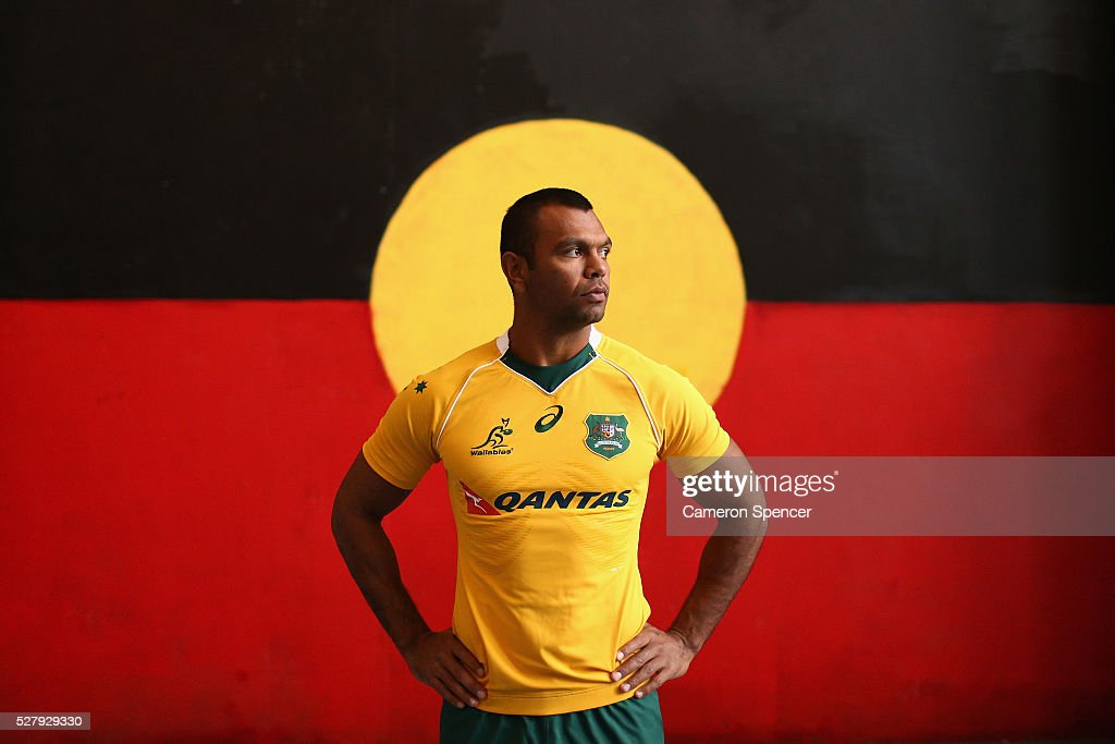Australian Wallabies player <a gi-track='captionPersonalityLinkClicked' href=/galleries/search?phrase=Kurtley+Beale&family=editorial&specificpeople=3020818 ng-click='$event.stopPropagation()'>Kurtley Beale</a> poses during the Australian Wallabies jersey launch at All Sorts Sports Factory on May 4, 2016 in Sydney, Australia.