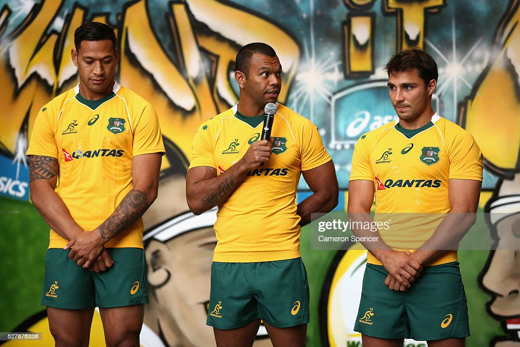 Australian Wallabies player Kurtley Beale talks during the Australian Wallabies jersey launch at All Sorts Sports Factory on May 4, 2016 in Sydney, Australia.