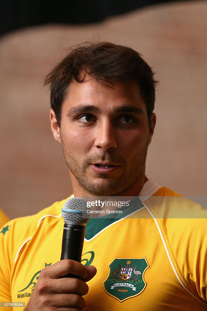 Australian Wallabies player Nick Phipps talks during the Australian Wallabies jersey launch at All Sorts Sports Factory on May 4, 2016 in Sydney, Australia.