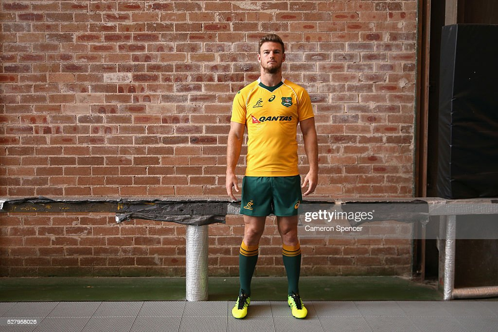 Australian Wallabies player <a gi-track='captionPersonalityLinkClicked' href=/galleries/search?phrase=Rob+Horne&family=editorial&specificpeople=5127758 ng-click='$event.stopPropagation()'>Rob Horne</a> poses during the Australian Wallabies jersey launch at All Sorts Sports Factory on May 4, 2016 in Sydney, Australia.