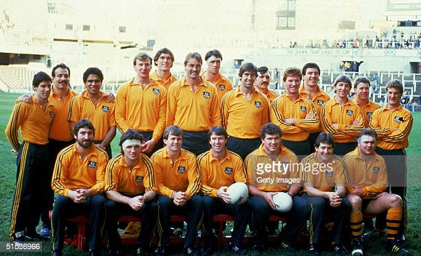 Australian Wallabies pose for a team photo before the start of the Grand Slam Rugby match between the Barbarians and the Wallabies 1984 in London...