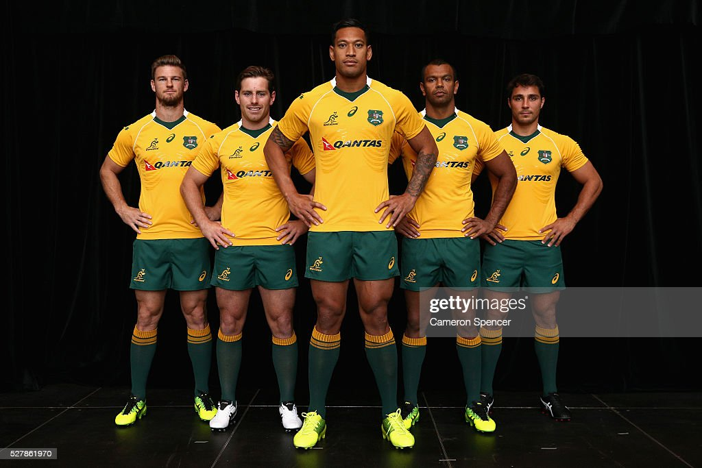 Australian Wallabies <a gi-track='captionPersonalityLinkClicked' href=/galleries/search?phrase=Rob+Horne&family=editorial&specificpeople=5127758 ng-click='$event.stopPropagation()'>Rob Horne</a>, <a gi-track='captionPersonalityLinkClicked' href=/galleries/search?phrase=Bernard+Foley&family=editorial&specificpeople=6563906 ng-click='$event.stopPropagation()'>Bernard Foley</a>, <a gi-track='captionPersonalityLinkClicked' href=/galleries/search?phrase=Israel+Folau&family=editorial&specificpeople=4194699 ng-click='$event.stopPropagation()'>Israel Folau</a>, <a gi-track='captionPersonalityLinkClicked' href=/galleries/search?phrase=Kurtley+Beale&family=editorial&specificpeople=3020818 ng-click='$event.stopPropagation()'>Kurtley Beale</a> and <a gi-track='captionPersonalityLinkClicked' href=/galleries/search?phrase=Nick+Phipps+-+Rugbyspieler&family=editorial&specificpeople=10985377 ng-click='$event.stopPropagation()'>Nick Phipps</a> pose in the new Asics Wallabies jersey during the Australian Wallabies jersey launch at All Sorts Sports Factory on May 4, 2016 in Sydney, Australia.