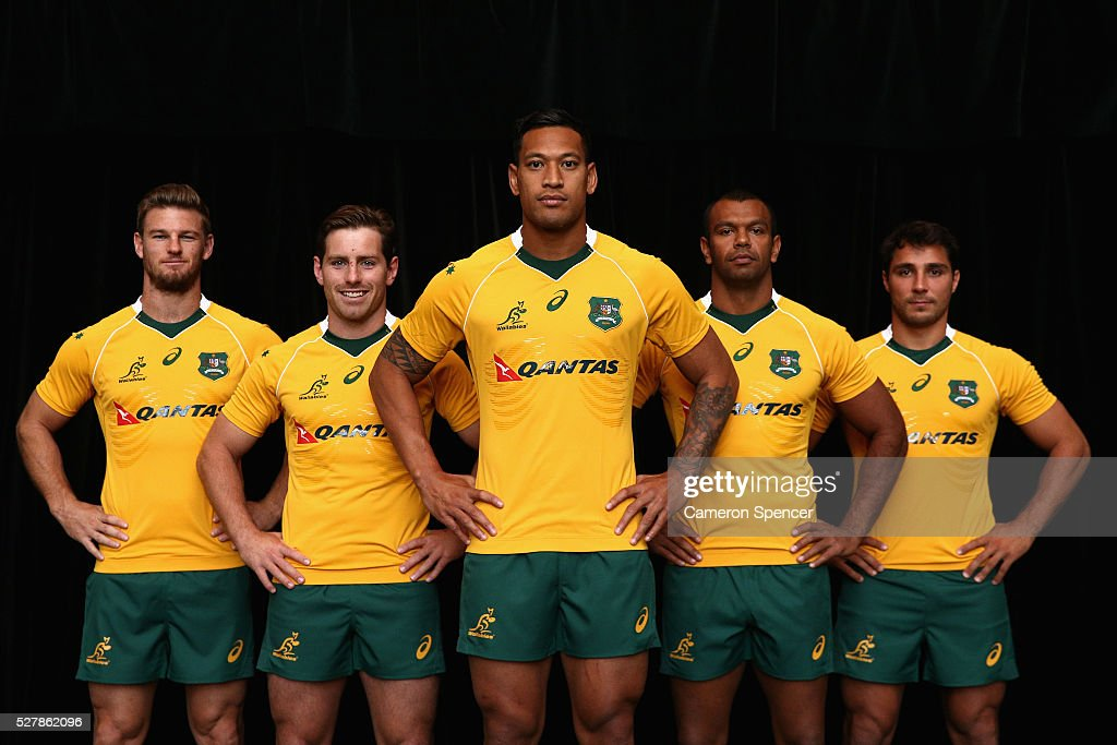 Australian Wallabies <a gi-track='captionPersonalityLinkClicked' href=/galleries/search?phrase=Rob+Horne&family=editorial&specificpeople=5127758 ng-click='$event.stopPropagation()'>Rob Horne</a>, <a gi-track='captionPersonalityLinkClicked' href=/galleries/search?phrase=Bernard+Foley&family=editorial&specificpeople=6563906 ng-click='$event.stopPropagation()'>Bernard Foley</a>, <a gi-track='captionPersonalityLinkClicked' href=/galleries/search?phrase=Israel+Folau&family=editorial&specificpeople=4194699 ng-click='$event.stopPropagation()'>Israel Folau</a>, <a gi-track='captionPersonalityLinkClicked' href=/galleries/search?phrase=Kurtley+Beale&family=editorial&specificpeople=3020818 ng-click='$event.stopPropagation()'>Kurtley Beale</a> and <a gi-track='captionPersonalityLinkClicked' href=/galleries/search?phrase=Nick+Phipps+-+Rugbyer&family=editorial&specificpeople=10985377 ng-click='$event.stopPropagation()'>Nick Phipps</a> pose in the new Asics Wallabies jersey during the Australian Wallabies jersey launch at All Sorts Sports Factory on May 4, 2016 in Sydney, Australia.