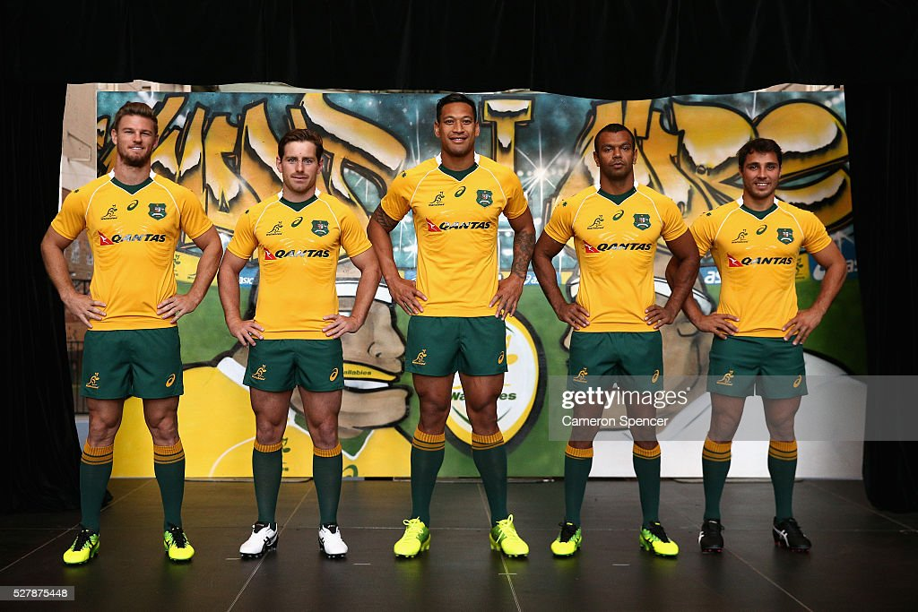 Australian Wallabies Rob Horne, Bernard Foley, Israel Folau, Kurtley Beale and Nick Phipps pose in the new Asics Wallabies jersey during the Australian Wallabies jersey launch at All Sorts Sports Factory on May 4, 2016 in Sydney, Australia.