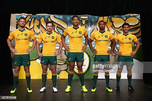 Australian Wallabies Rob Horne Bernard Foley Israel Folau Kurtley Beale and Nick Phipps pose in the new Asics Wallabies jersey during the Australian...