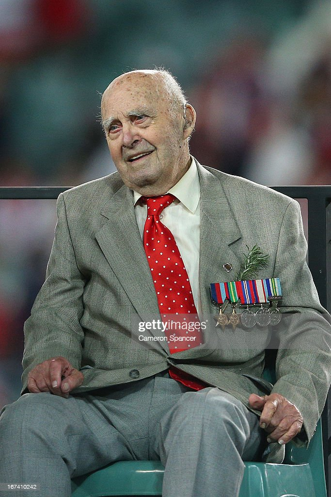 Australian war veteran Bill Collier sits on stage during a trophy presentation following the round seven NRL match between the Sydney Roosters and the St George Illawarra Dragons at Allianz Stadium on April 25, 2013 in Sydney, Australia.
