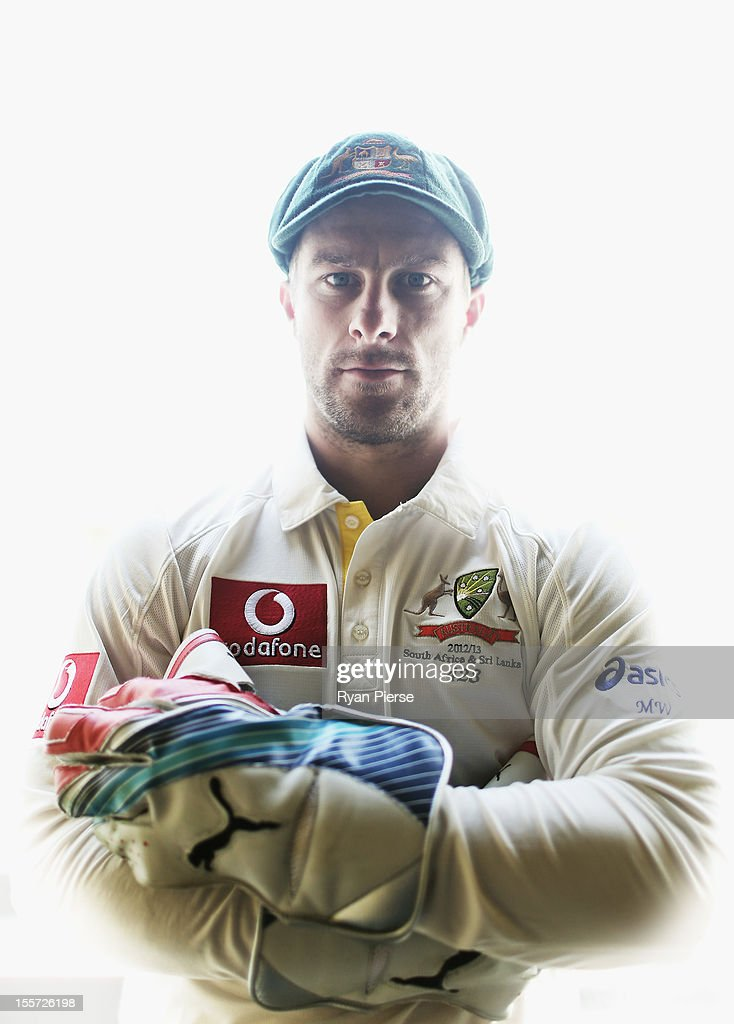 Australian wicketkeeper <a gi-track='captionPersonalityLinkClicked' href=/galleries/search?phrase=Matthew+Wade&family=editorial&specificpeople=724041 ng-click='$event.stopPropagation()'>Matthew Wade</a> poses during a portrait session at The Gabba on November 8, 2012 in Brisbane, Australia.