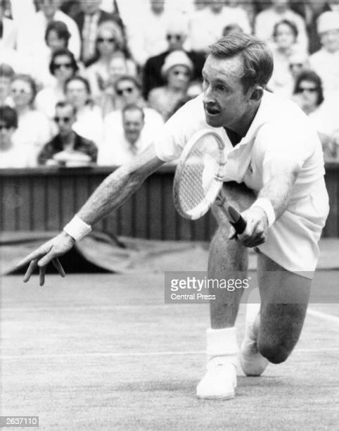 Australian Wimbledon champion Rod Laver defending his title against P Darmon Laver won