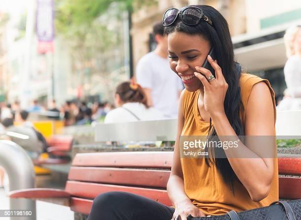 Australian woman calling on Queen Street Brisbane