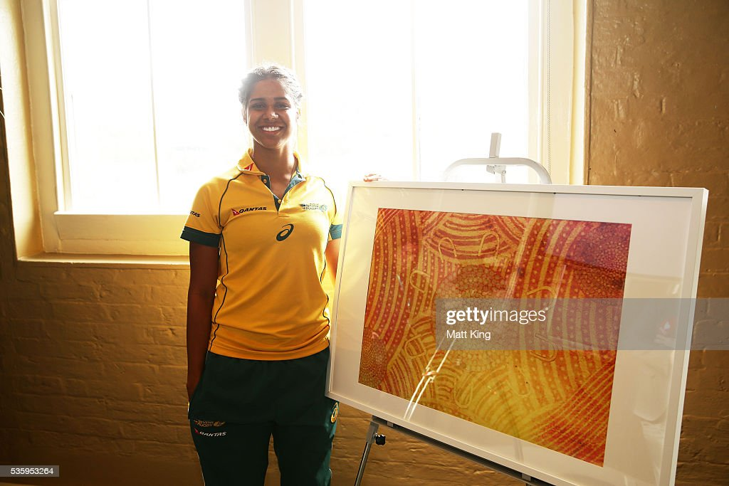 Australian Womens Sevens player Taleena Simon poses with a piece of artwork she created during the ARU Reconciliation Action Plan Launch at the National Centre for Indigenous Excellence on May 31, 2016 in Sydney, Australia.