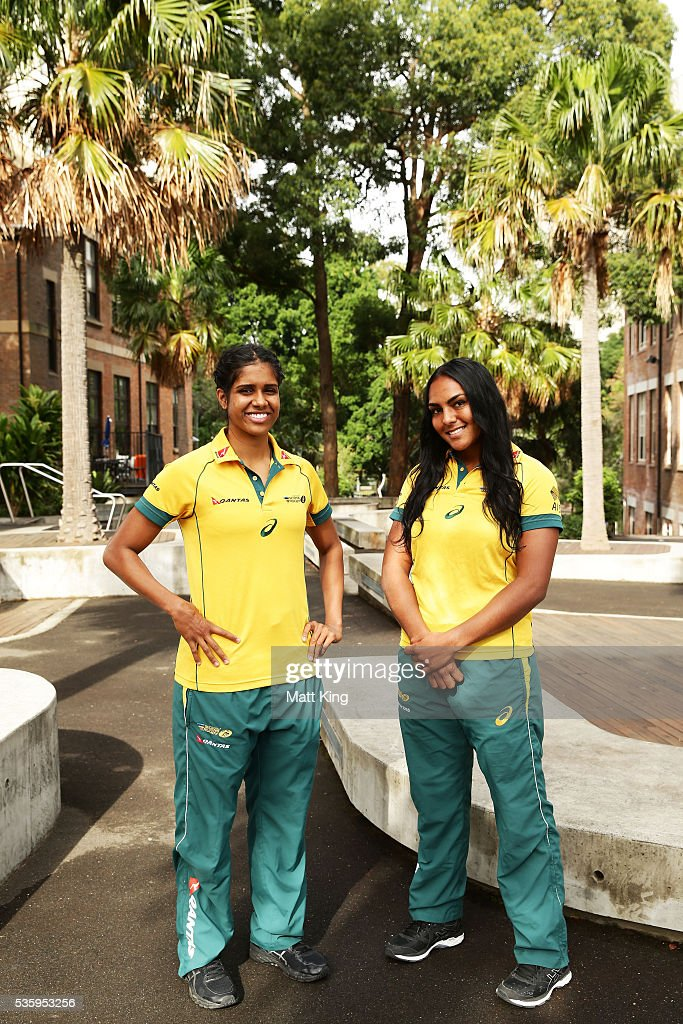 Australian Womens Sevens players Taleena Simon (L) and Mahalia Murphy (R) pose during the ARU Reconciliation Action Plan Launch at the National Centre for Indigenous Excellence on May 31, 2016 in Sydney, Australia.