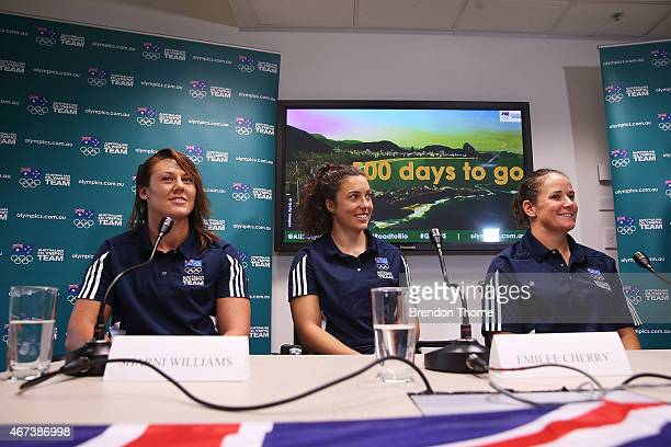 Australian Womens Sevens Rugby players Sharni Williams Emilee Cherry and Shannon Parry speak during a press conference with 500 days to go until the...