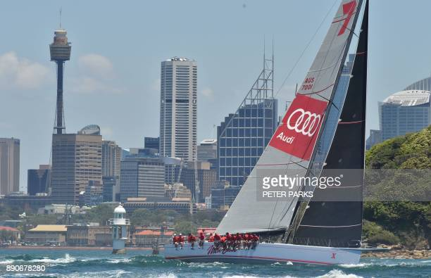 Australian yacht Wild Oats X races in the SOLAS Big Boat Challenge on Sydney Harbour on December 12 2017 / AFP PHOTO / PETER PARKS / IMAGE RESTRICTED...