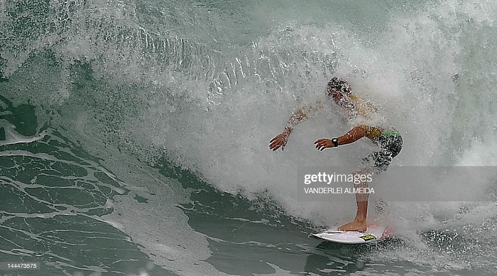 Australian Yadin Nicol competes in the Association of Surfing Professionals' men's 2012 ASP World Championship Tour at Barra da Tijuca beach in Rio...