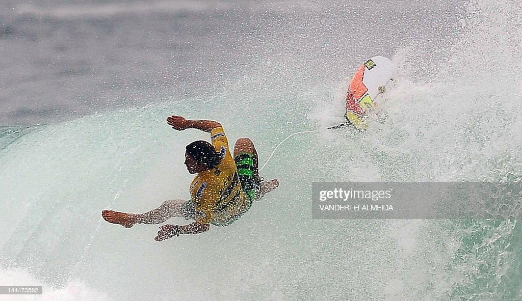 Australian Yadin Nicol falls as he competes in the Association of Surfing Professionals' men's 2012 ASP World Championship Tour at Barra da Tijuca...