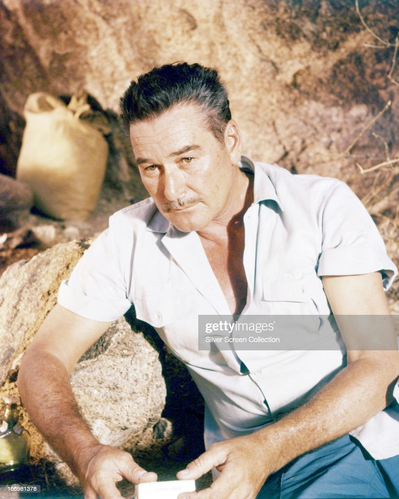 Australian-born American actor <a gi-track='captionPersonalityLinkClicked' href=/galleries/search?phrase=Errol+Flynn&family=editorial&specificpeople=93362 ng-click='$event.stopPropagation()'>Errol Flynn</a> (1909 - 1959) in a promotional portrait for 'The Roots Of Heaven', directed by John Huston, 1958.