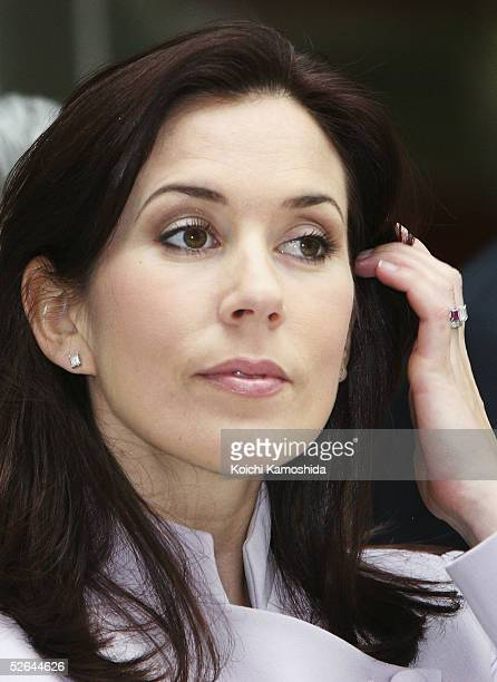 Australianborn Crown Princess Mary of Denmark wife of Crown Prince Frederik attends a reception party of the Danish Embassy on April 18 2005 in Tokyo...