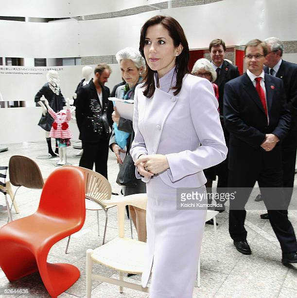 Australianborn Crown Princess Mary of Denmark wife of Crown Prince Frederik attends the 'Use It Danish Design In Everyday Life' exhibition of the...