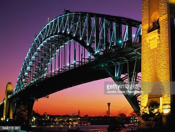 Australia,New South Wales,Sydney, Harbour Bridge illuminated at dusk
