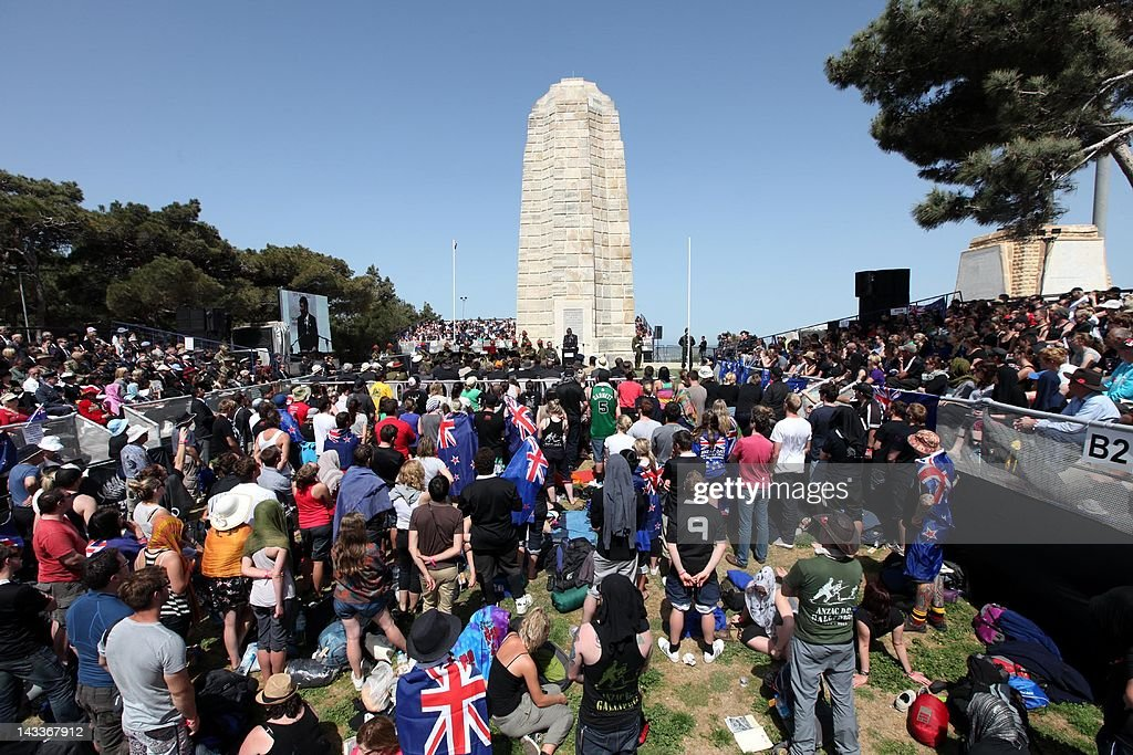 Australians and New Zealanders attend at the Lone Pine Memorial part of Anzac Day commemorations early on April 25 2012 at Gallipoli to mark the...
