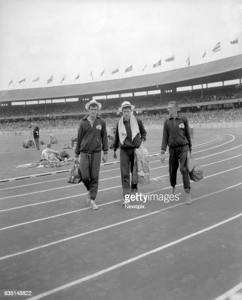 MELBOURNE VIC Australians Colin Ridgway John Vernon and Chilla Porter during the high jump at the Olympic Games in Melbourne Victoria