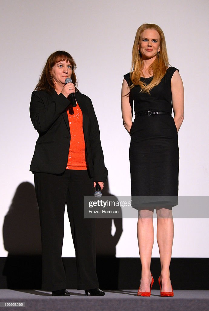 Australians in Film Jenny Cooney introduces Nicole Kidman to the Australians In Film Screening of ' The PaperBoy' at Harmony Gold Theatre on November 25, 2012 in Los Angeles, California.
