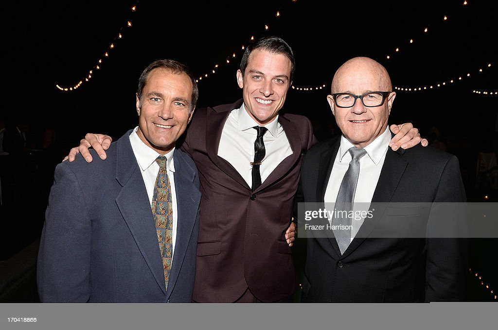 Australians in Film President Andrew Warne, actor James Mackay and Kim Ledger attend the Australians In Film and Heath Ledger Scholarship Host 5th Anniversary Benefit Dinner on June 12, 2013 in Los Angeles, California.