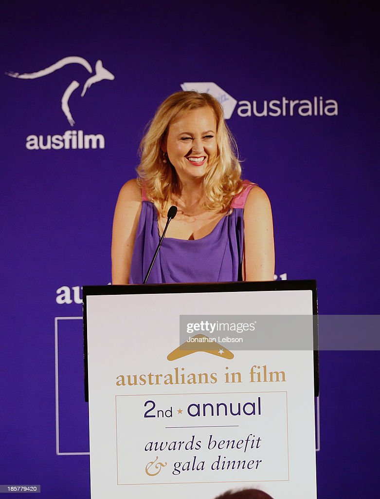 Australians in Film President Tracey Vieira speaks onstage at the 2nd Annual Australians in Film Awards Gala at Intercontinental Hotel on October 24, 2013 in Beverly Hills, California.