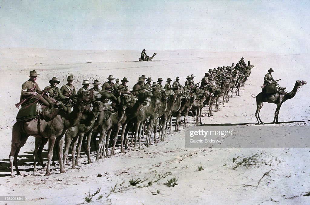 Australians of the Imperial Camel Corps near Rafa during the war against the Ottoman Empire 26th January 1918 Middle Eastern theatre of World War I...