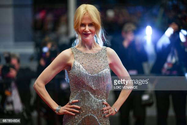 TOPSHOT AustralianUS actress Nicole Kidman poses as she leaves on May 24 2017 following the screening of the film 'The Beguiled' at the 70th edition...