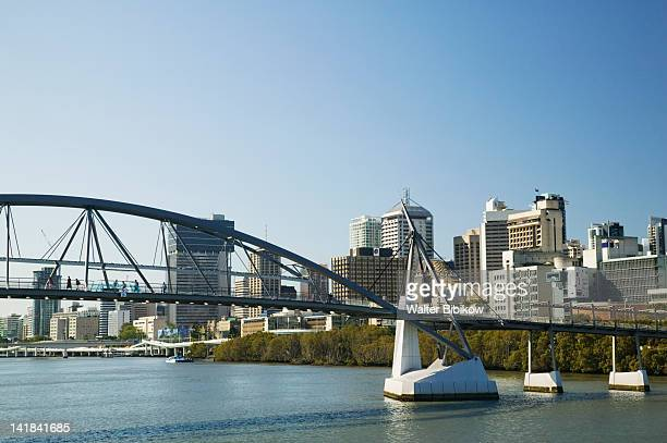 AUSTRALIA-Queensland-Brisbane: Southbank District- View along Brisbane River towards the Goodwill Bridge