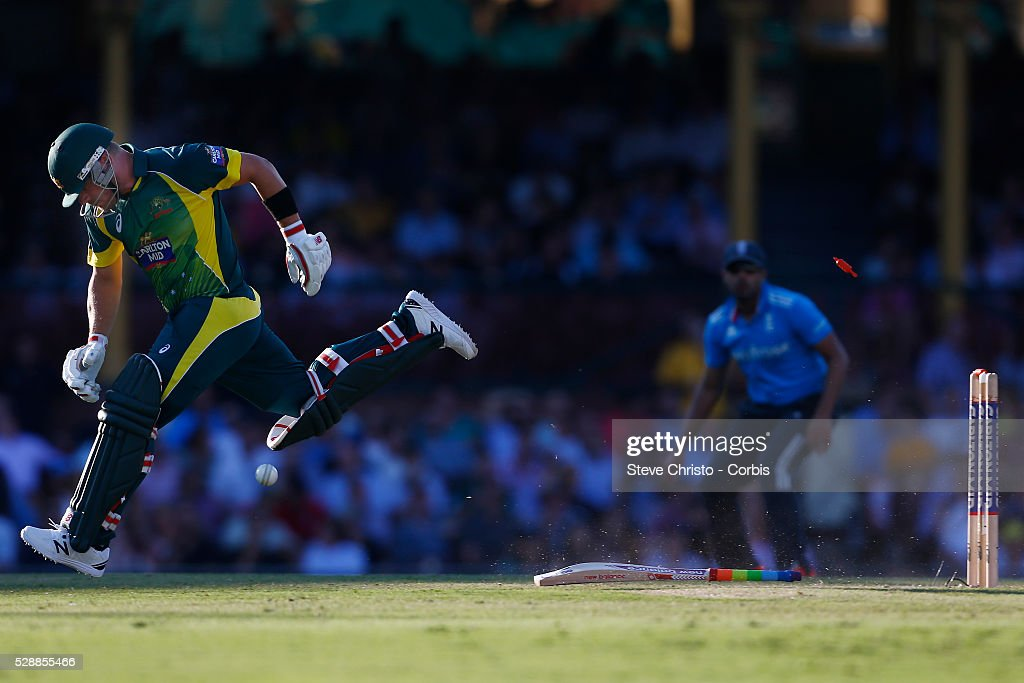 Australia's Aaron Finch makes his ground during a runout attempt by England's Stuart Broad at the Sydney Cricket Ground Sydney Australia Friday 16th...