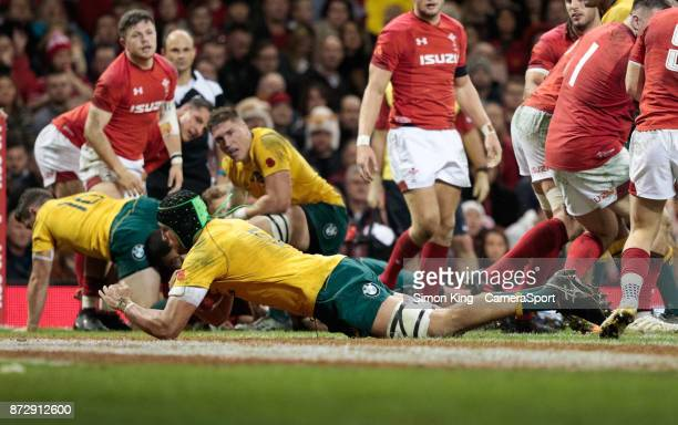 Australia's Adam Coleman scores his sides second try during the 2017 Under Armour Series match between Wales and Australia at Principality Stadium on...