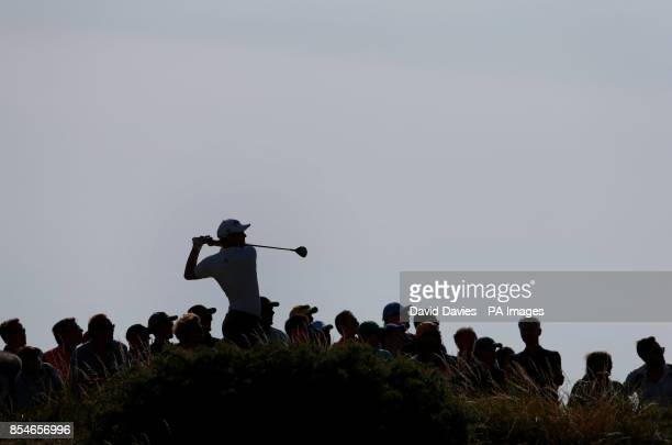 Australia's Adam Scott tees off on the 12th hole during day one of the 2014 Open Championship at Royal Liverpool Golf Club Hoylake